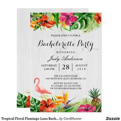 Tropical Floral Flamingo Luau Bachelorette Party Card