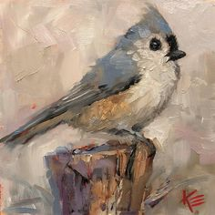 "Daily Paintworks - ""Titmouse "" - Original Fine Art for Sale - © Krista Eaton Watercolor Paintings, Abstract Paintings, Art Paintings, Landscape Paintings, Mini Canvas Art, Animal Paintings, Indian Paintings, Bird Drawings, Pastel Art"