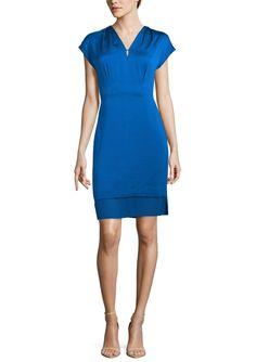 ANNE KLEIN DRESS Cap Sleeve V-Neck Dress | ideel