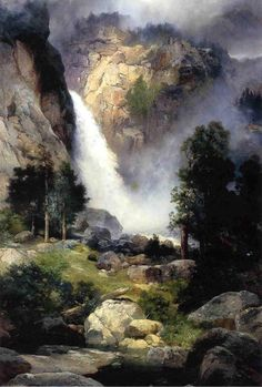 Cascade Falls, Yosemite by Thomas Moran Western Landscape, Landscape Art, Landscape Paintings, Beautiful Paintings Of Nature, Cascade Falls, Munier, Thomas Moran, Waterfall Paintings, Hudson River School