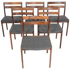 Set of Six Danish Modern Midcentury Dining Chairs by Henry Rosengren Hansen