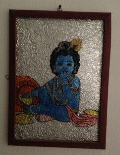 Baby Krishna Glass Painting