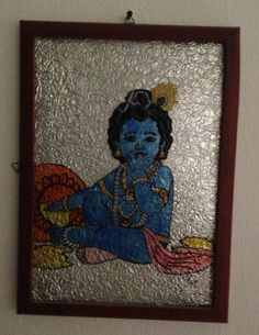Baby Krishna Glass Painting