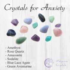 crystals for anxiety/ crystals for stress/ relaxation/ chakra healing/ amethyst/ amazonite/ rose quartz/ sodalite/ blue lace agate/ green aventurine/ stress relief/ meditation/ chakras