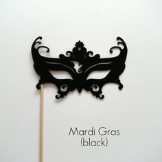 Photobooth prop Mardi Gras mask on a stick black on Etsy, $3.00