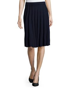 Santana-Knit Pleated Skirt, Navy - St. John