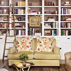 Add interest to built-in shelves with a contrasting background color. Tour the rest of this small traditional home: http://www.bhg.com/decorating/decorating-style/traditional/small-traditional-home/?socsrc=bhgpin041113contrastshelves=4