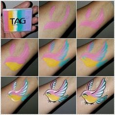 I just created this step by step for my book via an # neonbird from Ka. - I just created this step by step for my book via an # neonbird from Katarzyna Zielinska # - Face Painting Tips, Face Painting Tutorials, Face Painting Designs, Painting For Kids, Painting Patterns, Paint Designs, Tole Painting, Tinta Facial, Animal Face Paintings