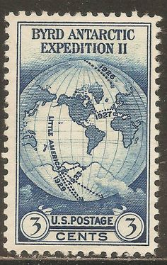 1933 US: Scott #733 - Byrd Antarctic Expedition II (3¢ Perf 11 - Dark Blue) Mint