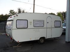 This is my vintage '73 Tabbert Comtesse travel trailer.  She's at the shop being worked on, can't wait til she's done!