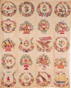 Baltimore Album Quilt top, 1852. Design by Mary Simon. Maryland.