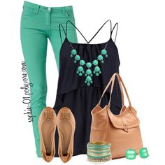 """Teal & Navy"" by sophie-01 on Polyvore"