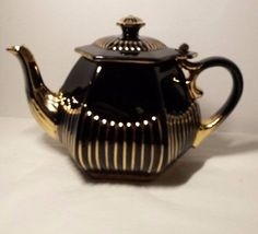 Victorian  Antique Teapot.Black and  Gold Gilt Ceramic  English . Hinged lid.