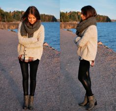 chunky cardigan and scarf with leggings and boots(: