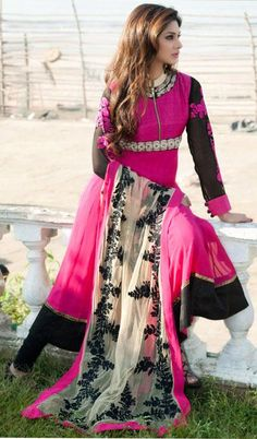 $141.06 Pink Full Sleeve Faux Georgette Long Anarkali Salwar Kameez 21705