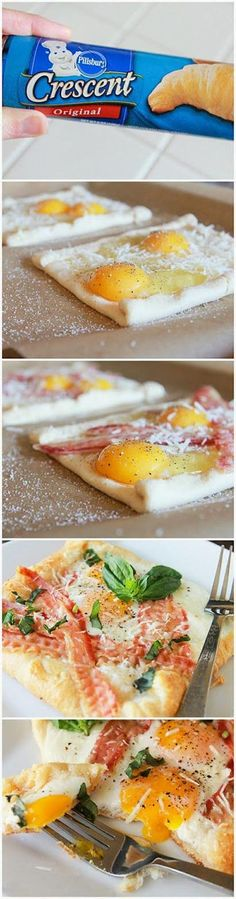 Easy Bacon and Egg Bites, perfect for a sleepy Saturday breakfast. Heat oven to 350°F. Unroll dough, separate into squares, place on ungreased cookie sheet. Top each pizza with bacon, crack a fresh egg on top , sprinkle with basil leaves and cheese. Sprinkle with pepper. Bake 18 to 20 minutes until golden brown.