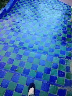 coloured tiles in Yves St Laurent gardens in marakesh