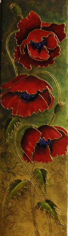 Faux Cloisonné Poppies made by Tracy Moreau! We love this beautiful art work! Art Floral, Pebeo Vitrail, Silk Painting, Painting On Glass, Glass Paint, Painting Art, Painting Inspiration, Flower Art, Stained Glass
