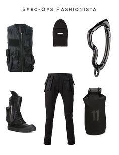 Spec Ops Fashionista Mens Clockwise: Cargo Gilet by RICK OWENS DRKSHDW, Black Knit Ski Mask by Maison Margiela, Arcus Carabiner Chrome Noir by SVØRN, '11' backpack by BORIS BIDJAN SABERI, Cargo Skinny Trousers by UNDERCOVER, 'Cargo Basket' boots by RICK OWENS