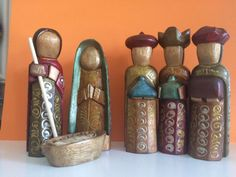 "Wooden Nativity set from Ecuador, Holy Family, Nativity scene  6"" tall"