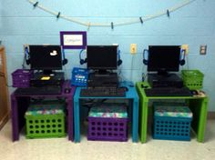 I built 3 computer desks along with 3 crate seats for my classroom. SPACE SAVER!!!!!!