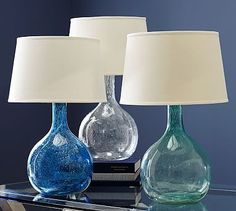 Eva Colored Glass Table Lamp #potterybarn - want 2 of these for my master bedroom night stands.
