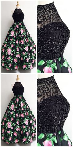 Gorgeous Halter Black Long Floral Prom Dress,Prom Dresses,Evening Dress, Prom Gowns, Formal Women Dr on Luulla Floral Prom Dresses, Prom Dresses Two Piece, Cute Prom Dresses, Prom Dresses For Teens, Lace Evening Dresses, Formal Dresses For Women, Grad Dresses, Stylish Dresses, Pretty Dresses