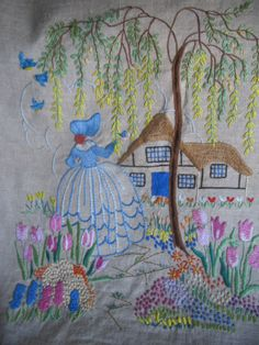 embroidered Crinoline Lady