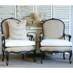 One of a kind set of shabby-chic black and white chairs
