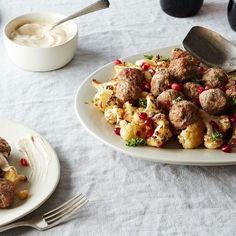 Sheet Pan Lamb Meatballs with Cauliflower and Tahini-Yogurt Sauce Recipe on Food52 recipe on Food52