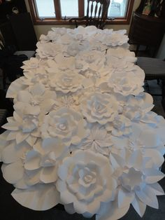 White Paper Flower Wall 4ft x 8ft   Extra Large Paper Flowers Decoration Photo Backdrop Prop by PoshStudios on Etsy