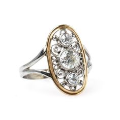 Intricate Edwardian Era Navette Style Diamond Engagement Ring | Gulfstream from Trumpet