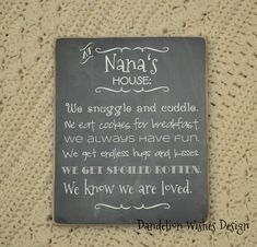 At Nana's House, Grandma's Rules, chalkboard look sign, mother's day gift for grandma Mothers Day Gifts From Daughter, Diy Mothers Day Gifts, Mother Gifts, Homemade Gifts, Diy Gifts, Graduation Quotes, Grandma Gifts, Gifts For Grandma, Mother's Day Diy