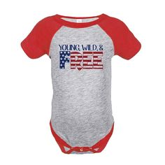 Custom Party Shop Kids Young Wild Free 4th of July Red Onepiece