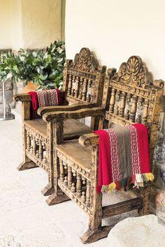 Travel Inspiration for Peru - Wooden chairs in Inkaterra La Casona Hotel
