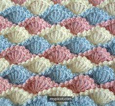crochet stitches patterns Crochet Shell Stitch is a lovely stitch with lots of rich texture. Here are some beautiful Shell Stitch Crochet Free Patterns for you to get started. Crochet Stitches Patterns, Crochet Afghans, Crochet Motif, Crochet Designs, Stitch Patterns, Knitting Patterns, Crochet Blankets, Crochet Shell Stitch, Love Crochet