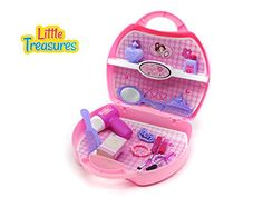 Quality luxurious Beauty tool box from Little Treasures - Complete with hand Mirror, face mask, Hair Styling Tools, perfume, lotion, and Accessories - 16 pieces pretend and play set for children 3  * Continue to the product at the image link.