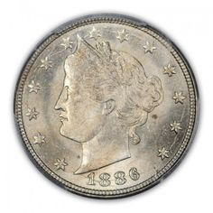 """1886 5C Liberty Nickel """"WITH CENTS""""  PCGS MS64 #LSRC  #PCGS"""