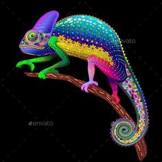 Chameleon Floral Rainbow Fantasy Stock Vector - Illustration of wild, fauna: 61863499 Cute Reptiles, Reptiles And Amphibians, Animals And Pets, Baby Animals, Cute Animals, Cameleon Art, Beautiful Creatures, Animals Beautiful, Colorful Animals
