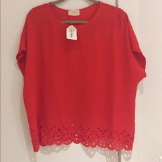 Red cropped laser cut boxy top Red silk top with laser cut detailing. Hits right above pants. Tops Blouses