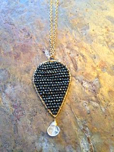 Gold filled tear drop hoop necklace wire wrapped with swarovski crystal beads and quartz