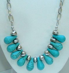 Turquoise Teardrops and Organic Silver Chunk Beads Chain Necklace   Gardengatedesigns - Jewelry on ArtFire