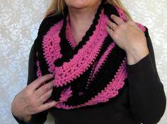 Black and Pink Crochet Cowl Capelet Hood by TreasureChestCrochet