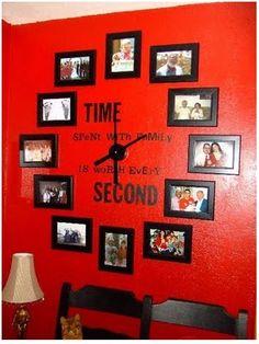 DIY wall art: Family clock…I'm going to do this but not on a red wall. DIY wall art: Family clock…I'm going to do this but not on a… Family Clock, Family Wall, Family Room, Family Collage, Family Family, Friends Family, Diy Casa, Ideias Diy, Diy Décoration