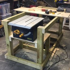 Workbench with table saw built in