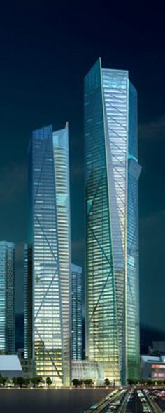 Eton Place Dalian Tower, Dalian, China by NBBJ Architects :: 80 floors, height 383m
