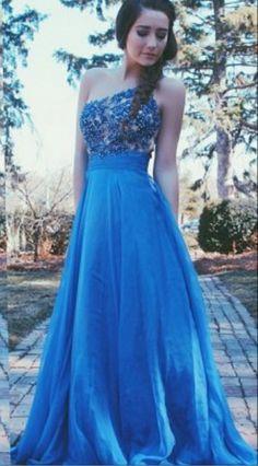One Shoulder Prom Dresses,Lace Evening Dress,Chiffon Prom Dress,Royal