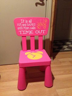 Time out Chair - Kids Furniture - Pink Girls Timeout Chair Diy Kids Furniture, Vintage Furniture, Painted Furniture, Diy For Kids, Crafts For Kids, Baby Crafts, Time Out Chair, Vinyl Projects, Kids Bedroom
