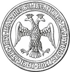 The Double-headed eagle on the reverse of the seal of Grand Prince Ivan III The Great Vasilyevich Rurik's (22 Jan 1440-27 Oct 1505 age 65) Russia from 1472 after his marriage to 2nd wife Princess Sophia-Zoe Palaiologina  (c 1447-7 Apr 1503) Byzantine is Computer Drawing by Vladimir Lobachev.