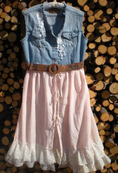 Guest Dress: Rustic Cowgirl Style Wedding Dresses Design, Cowgirl Shabby Lace Ruffled Dress with Denim Combination